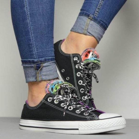 a0043f83bbc2 Converse Shoes - Converse Black Leopard Print 5 Tongue Sneakers